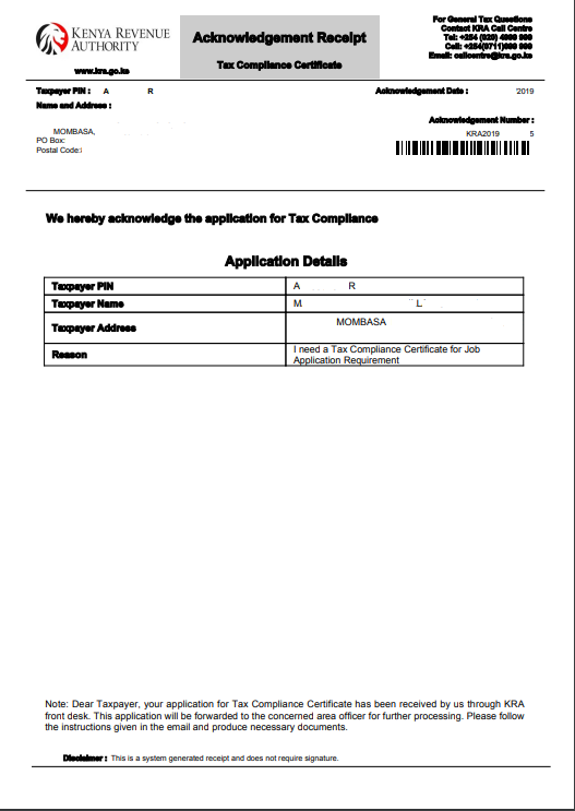 download kra tax compliance certificate acknowldegement receipt