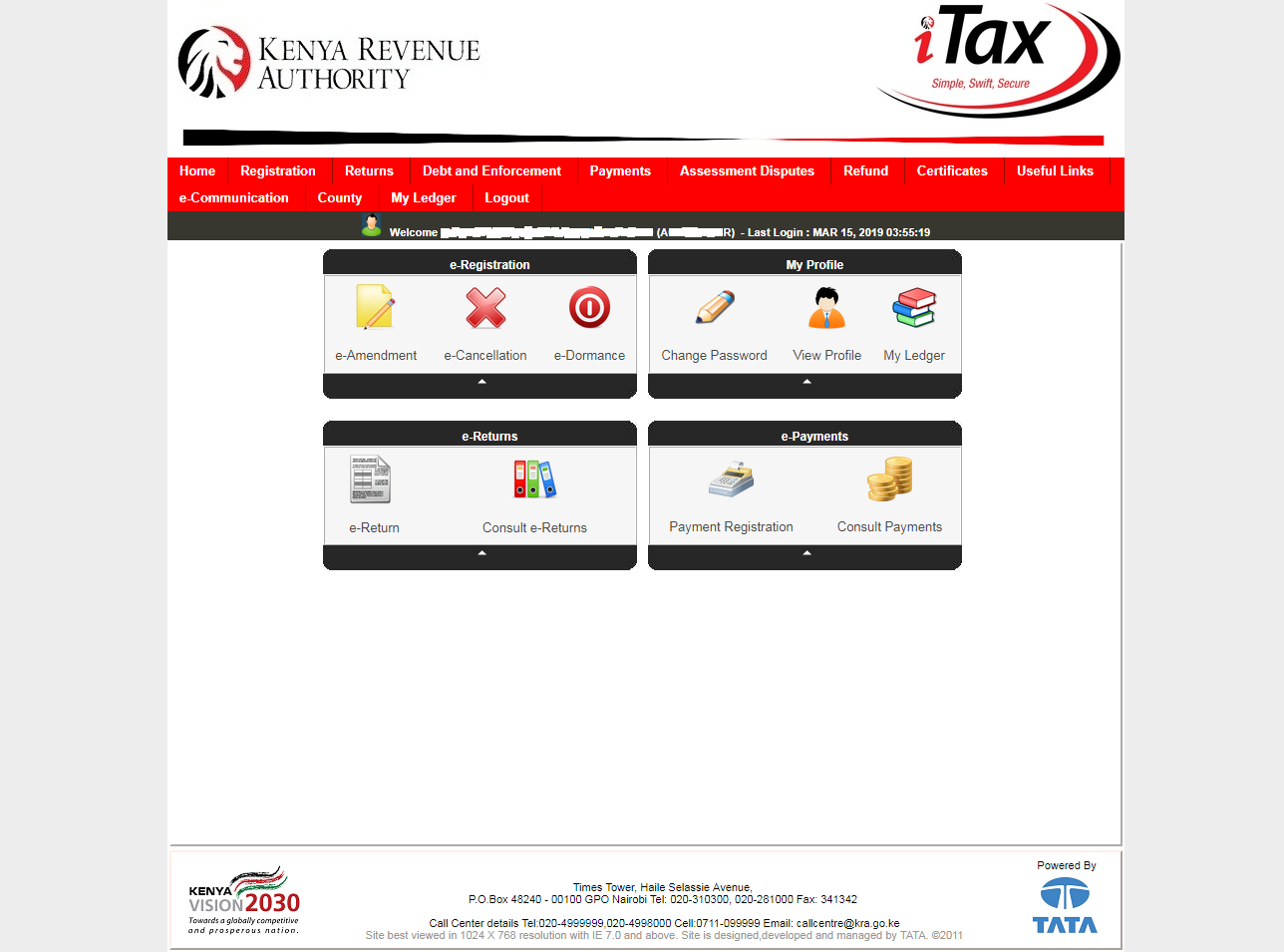 itax account dashboard