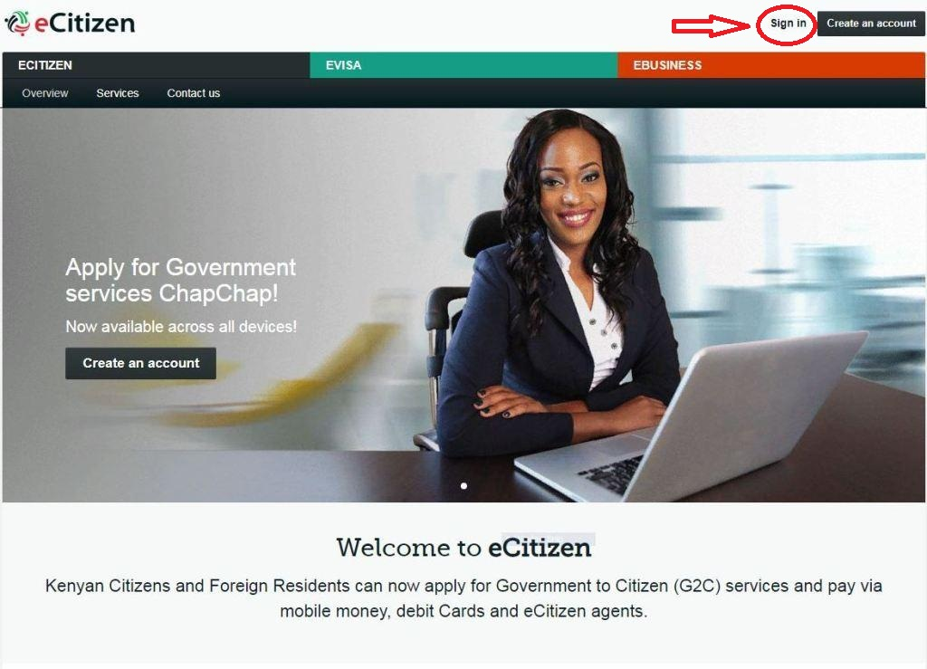 ecitizen sign in