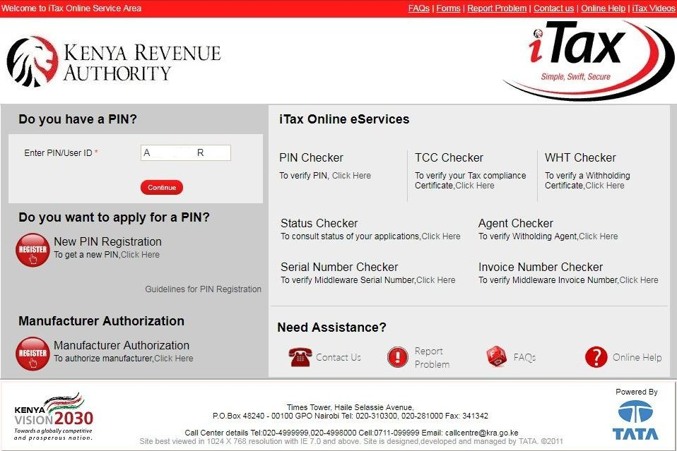 enter pin number on itax login page