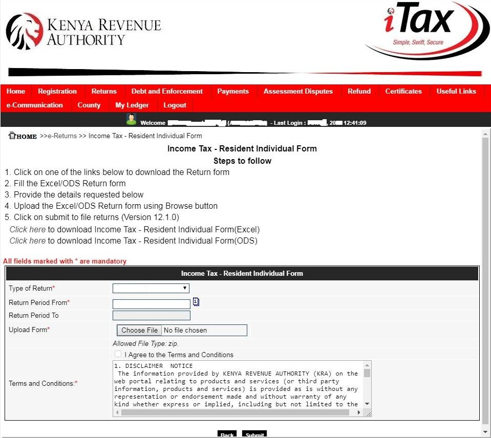 income tax resident individual form