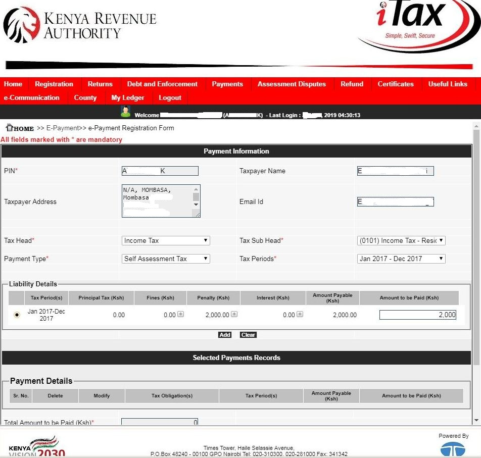 kra payment information