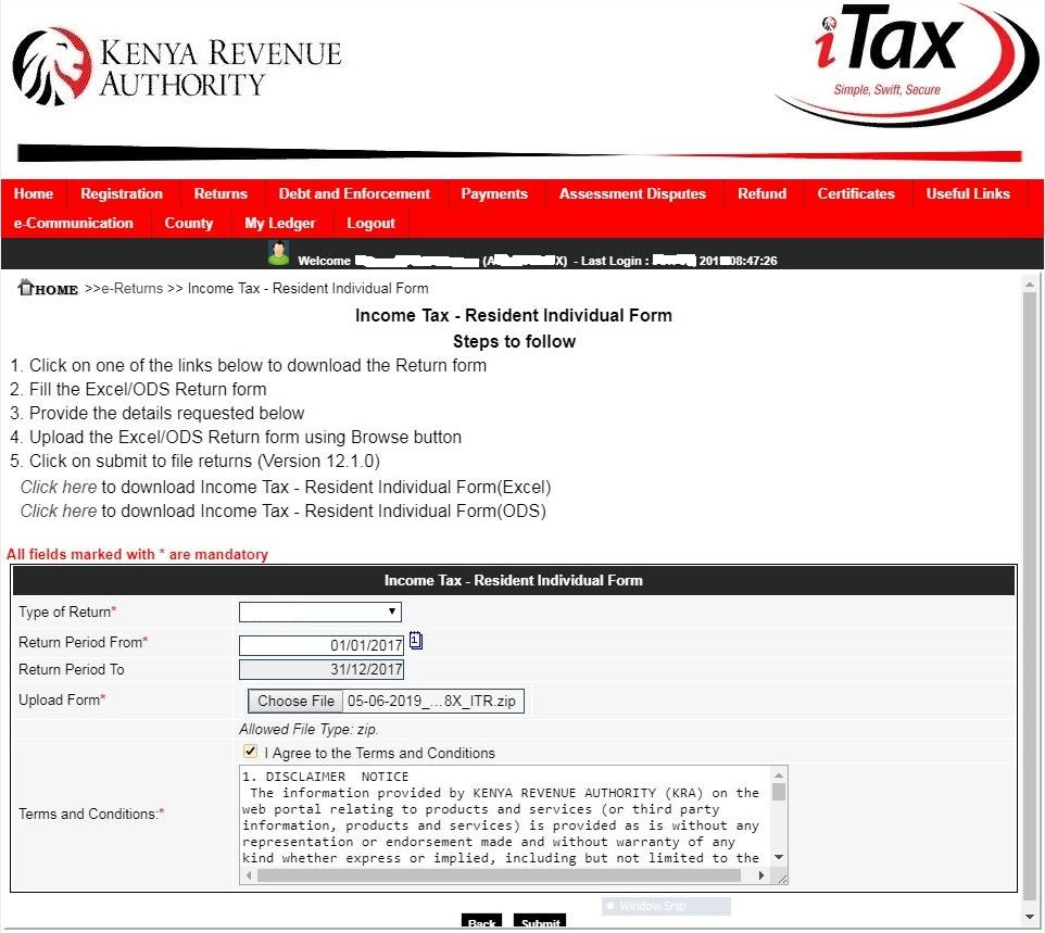 upload income tax resident individual form
