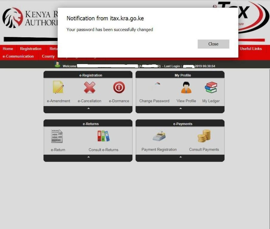 your kra password has been succesfully changed