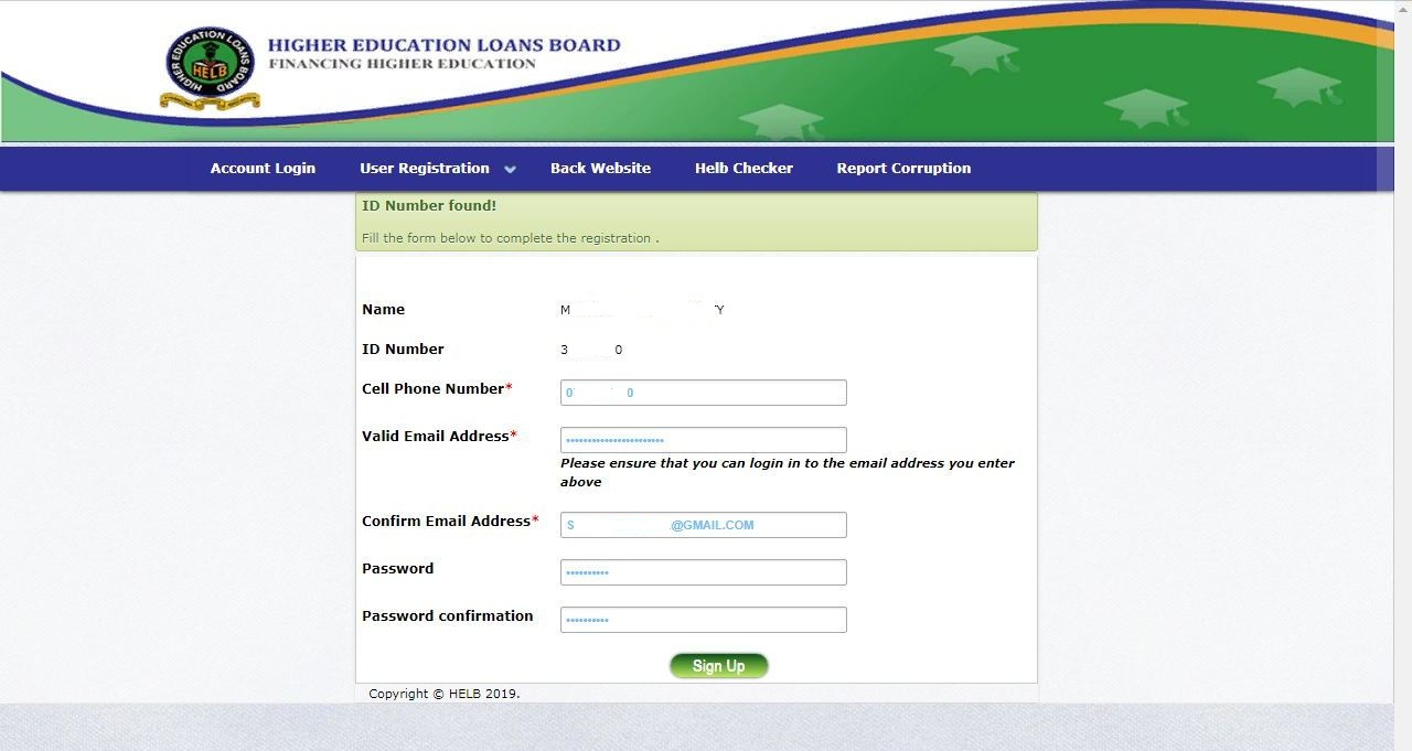 fill in helb account creation form