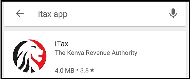 search for kra itax app on playstore