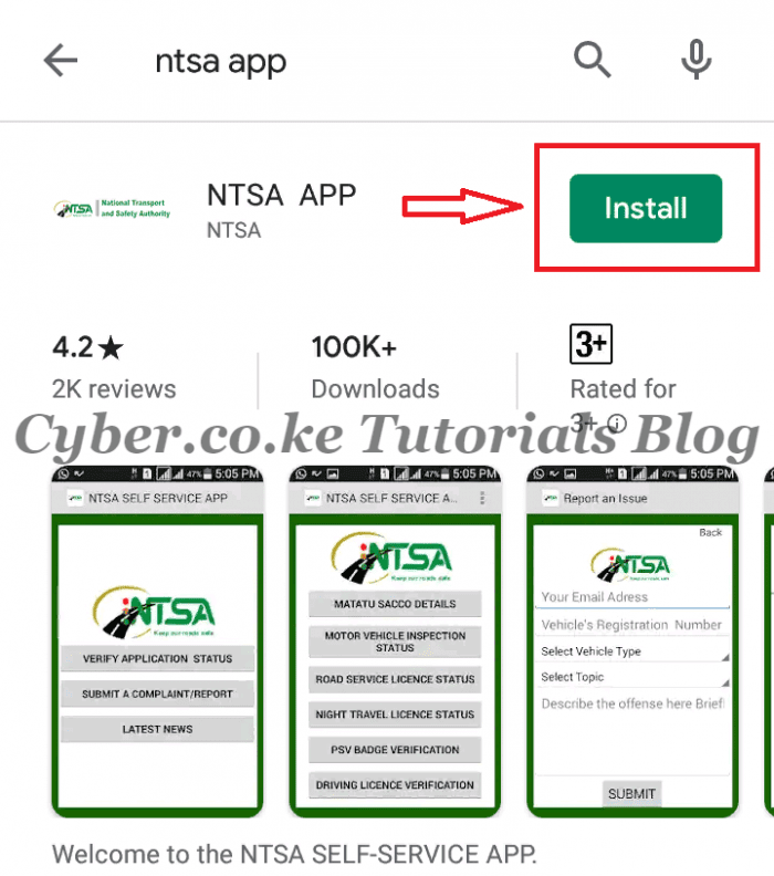 click on install ntsa app