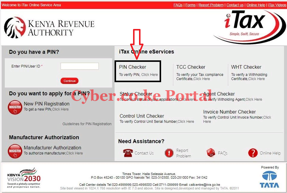 click on pin checker section on itax portal