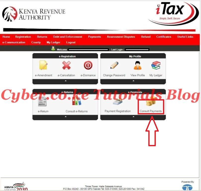 click on the itax consult payments tab