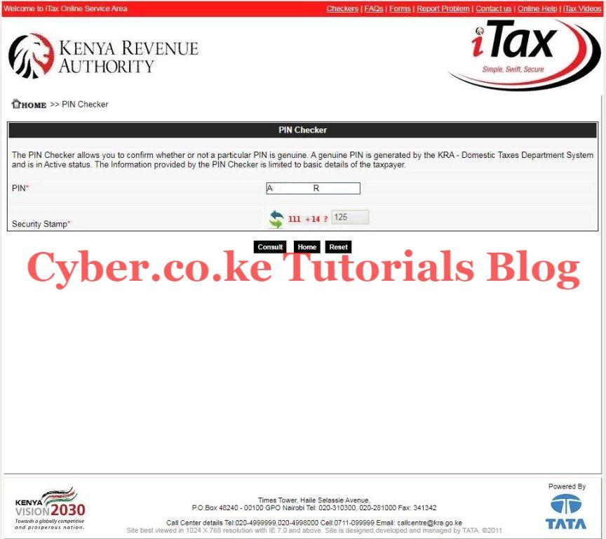 enter kra pin and security stamp