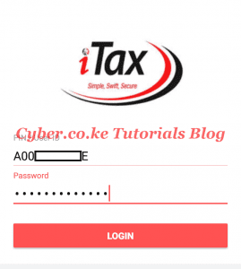 enter kra pin number and password on the itax app