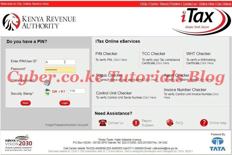 enter your kra itax password and security stamp