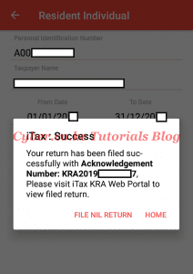 itax returns filed successfully on itax app