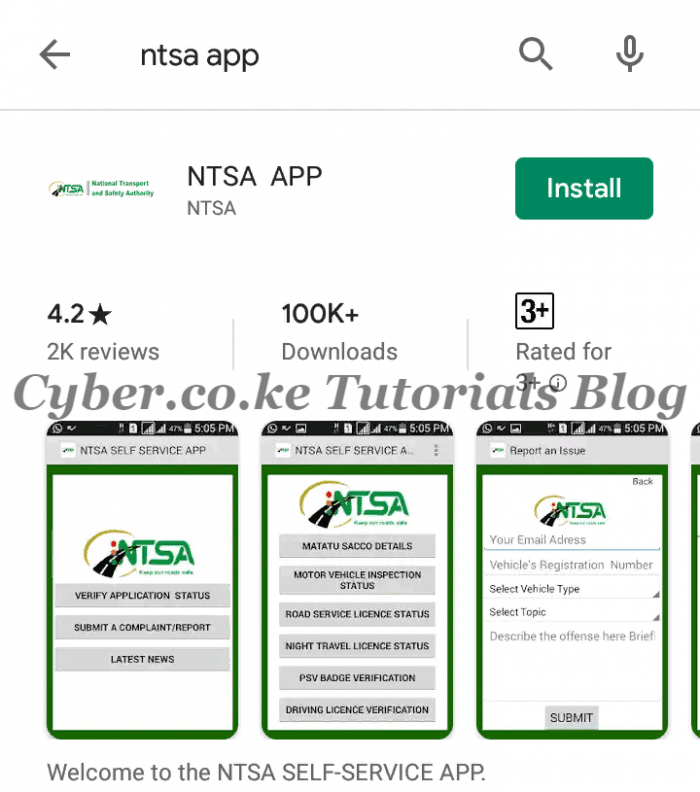 search for ntsa app on google play store