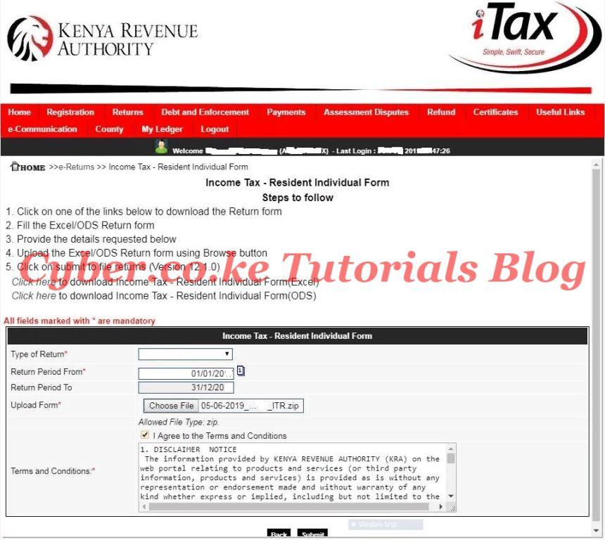 upload the zipped file on itax