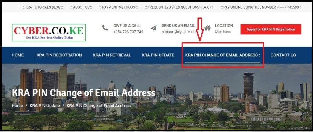 apply for kra pin change of email address
