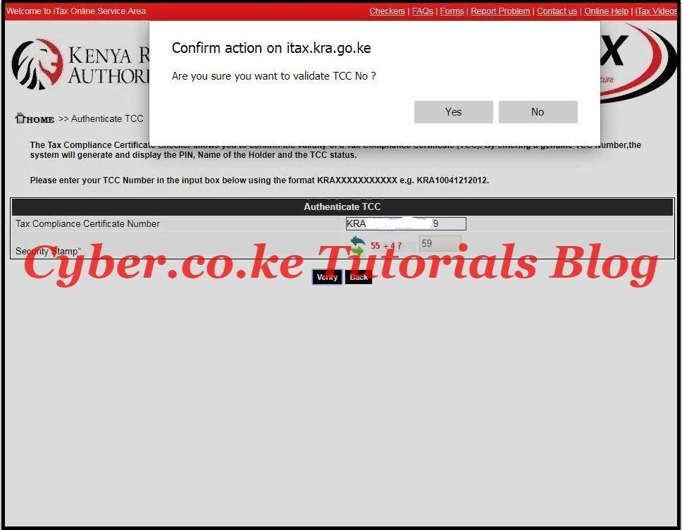 confirm action on itax.kra.go.ke
