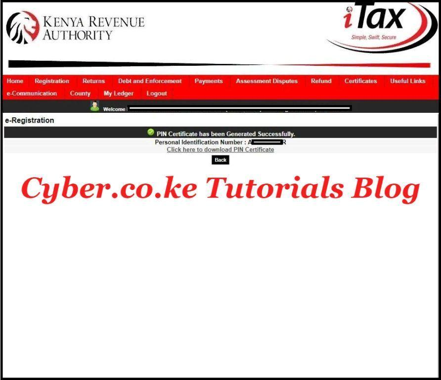 download pin certificate from kra itax portal