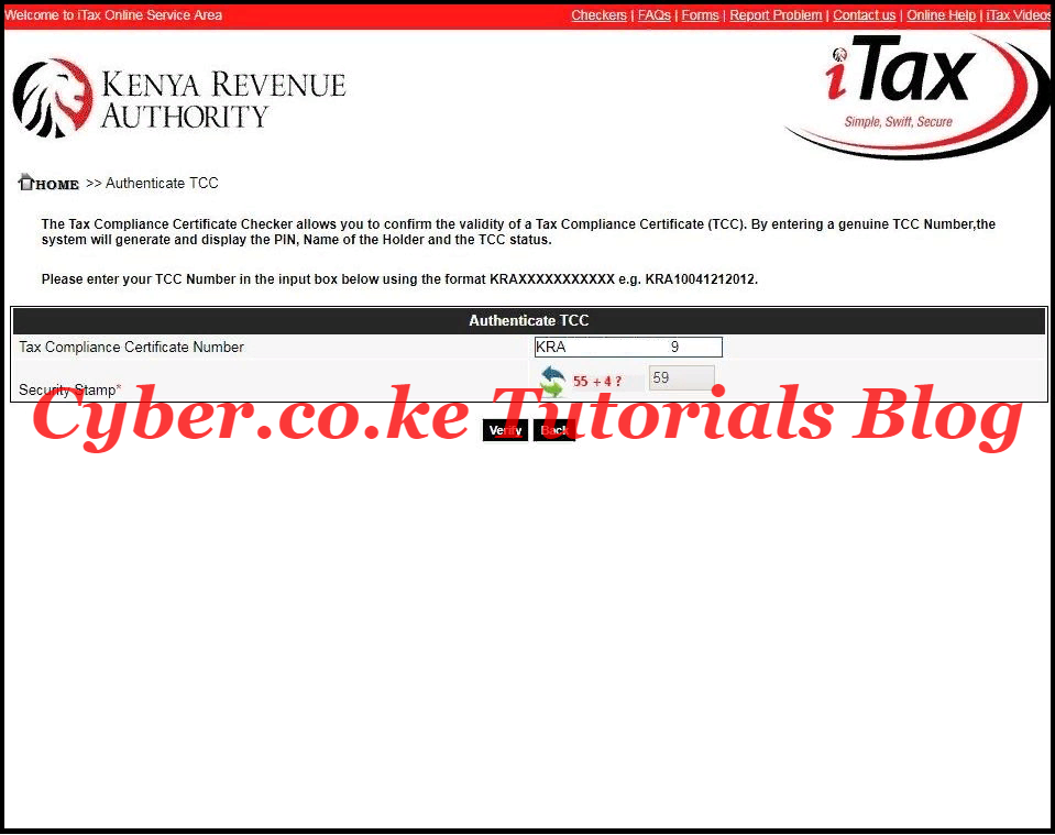 enter tax compliance certificate number and security stamp