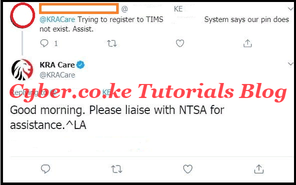 kra response on pin does not exist tims
