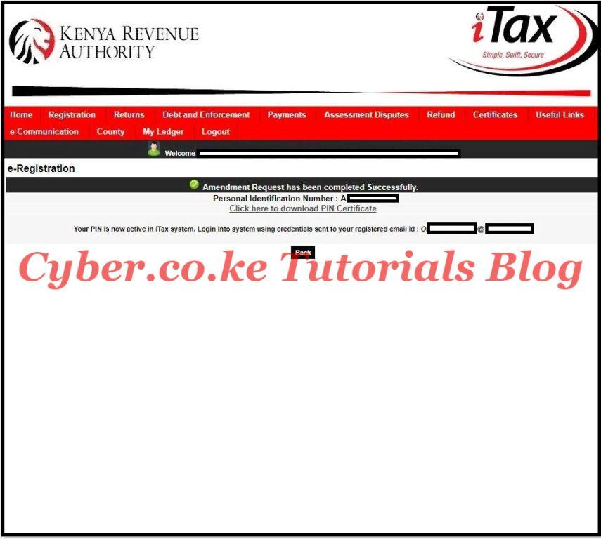 download amended kra pin certificate with a new kra email address