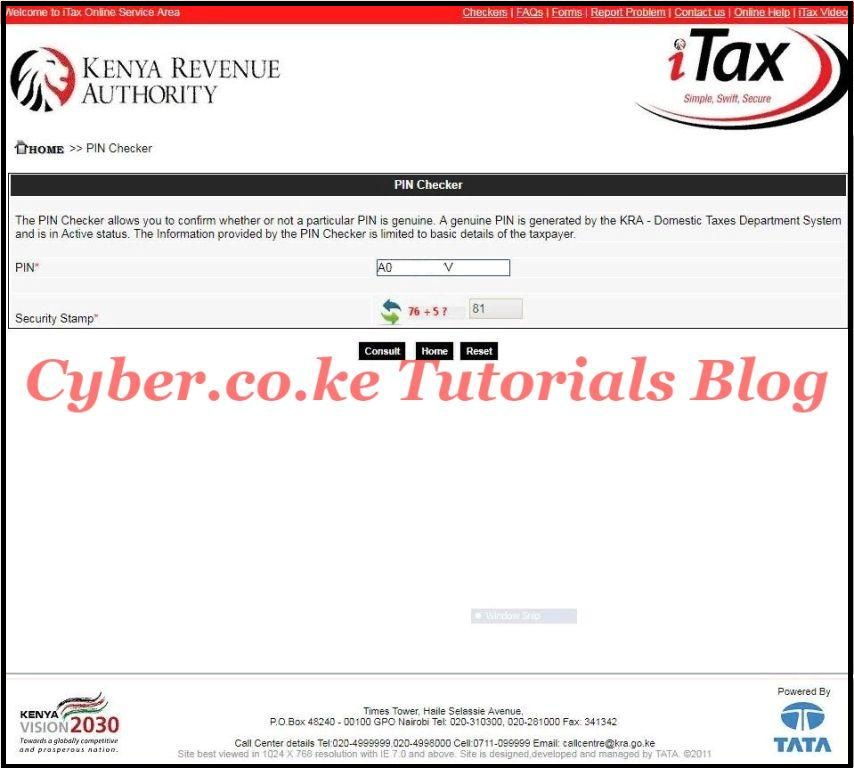 enter kra pin number on the itax pin checker