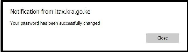 kra itax password changed successfully