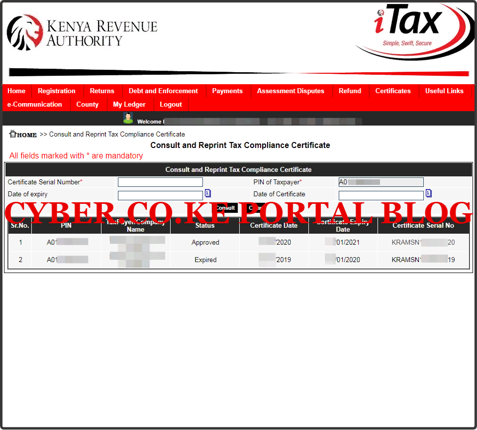 Download Tax Compliance Certificate