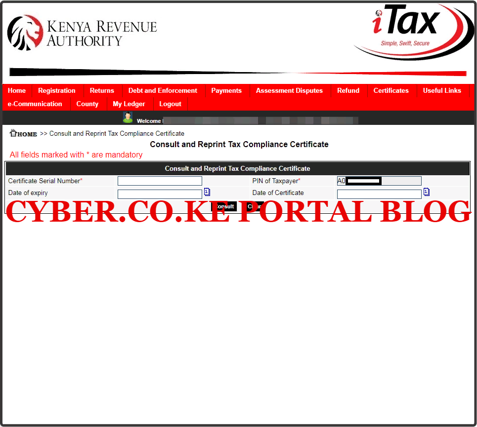 consult and reprint kra tax compliance certificate