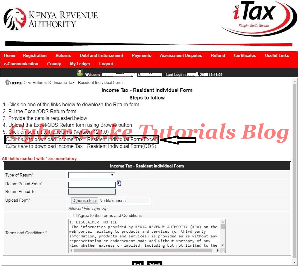 download kra income tax returns form