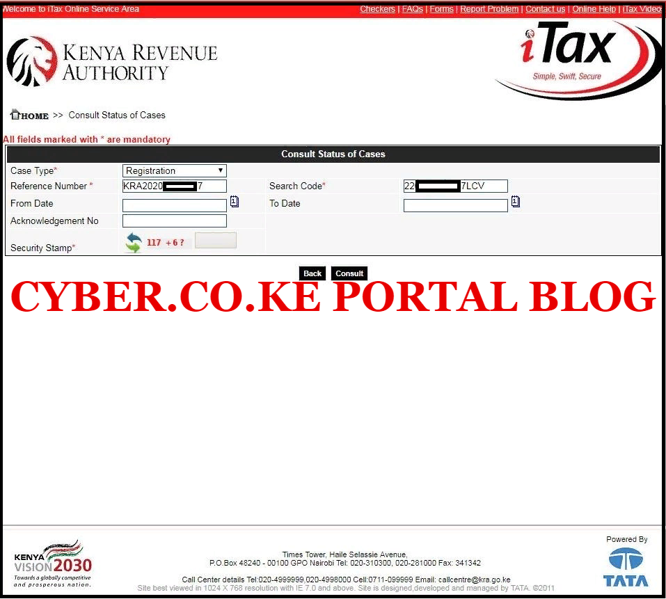 enter kra reference number and kra search code