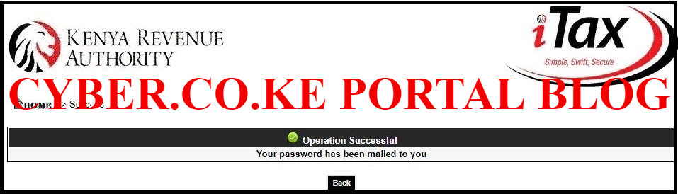 kra password has been sent to your email address