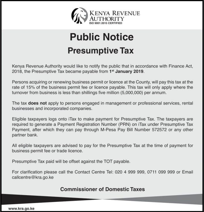 presumptive tax notice 2020