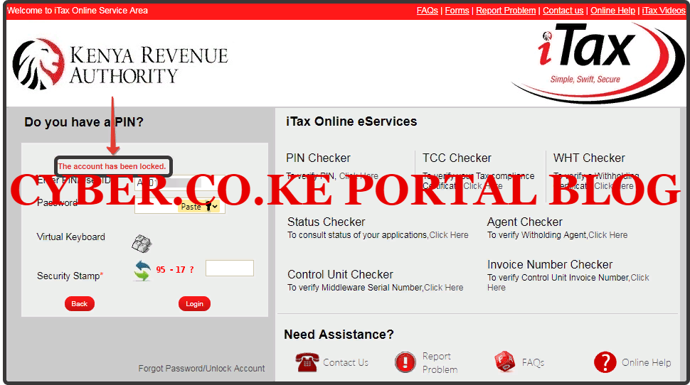 the kra itax account has been locked