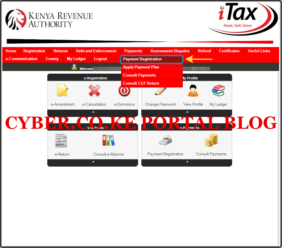 click on kra payment registration to pay for kra penalties