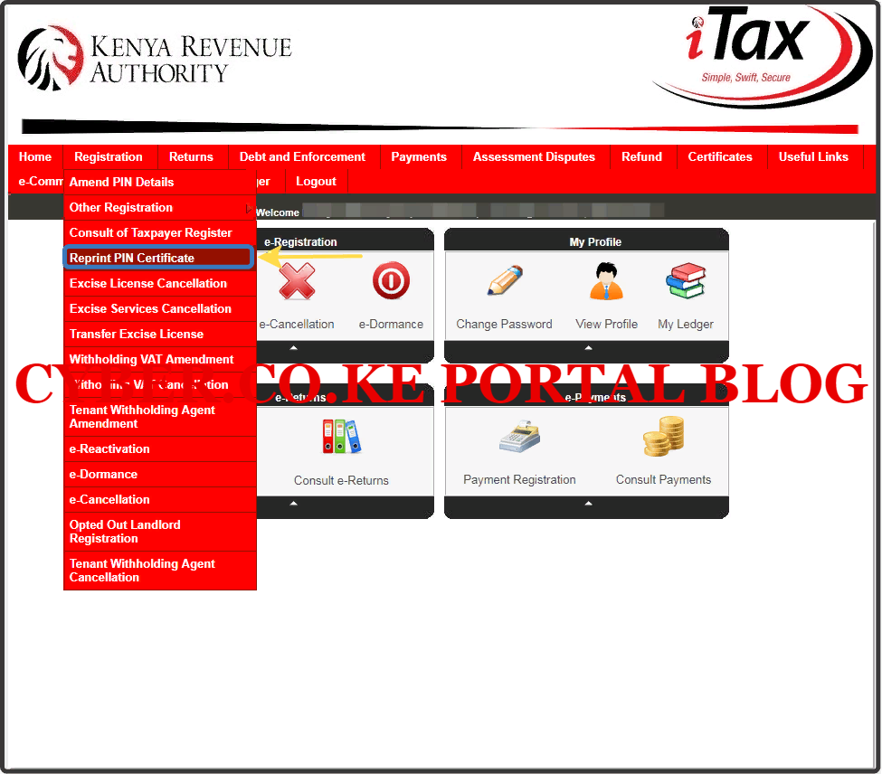 click on kra pin reprint functionality on itax portal