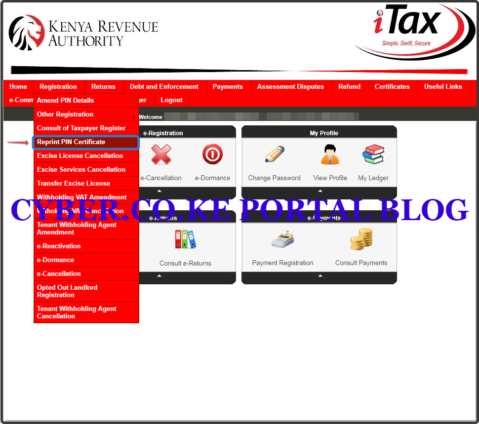 click on registration then click reprint pin certificate