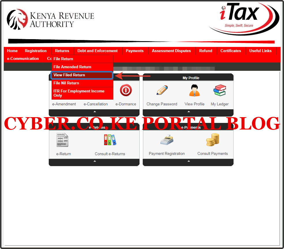 click on view filed kra returns