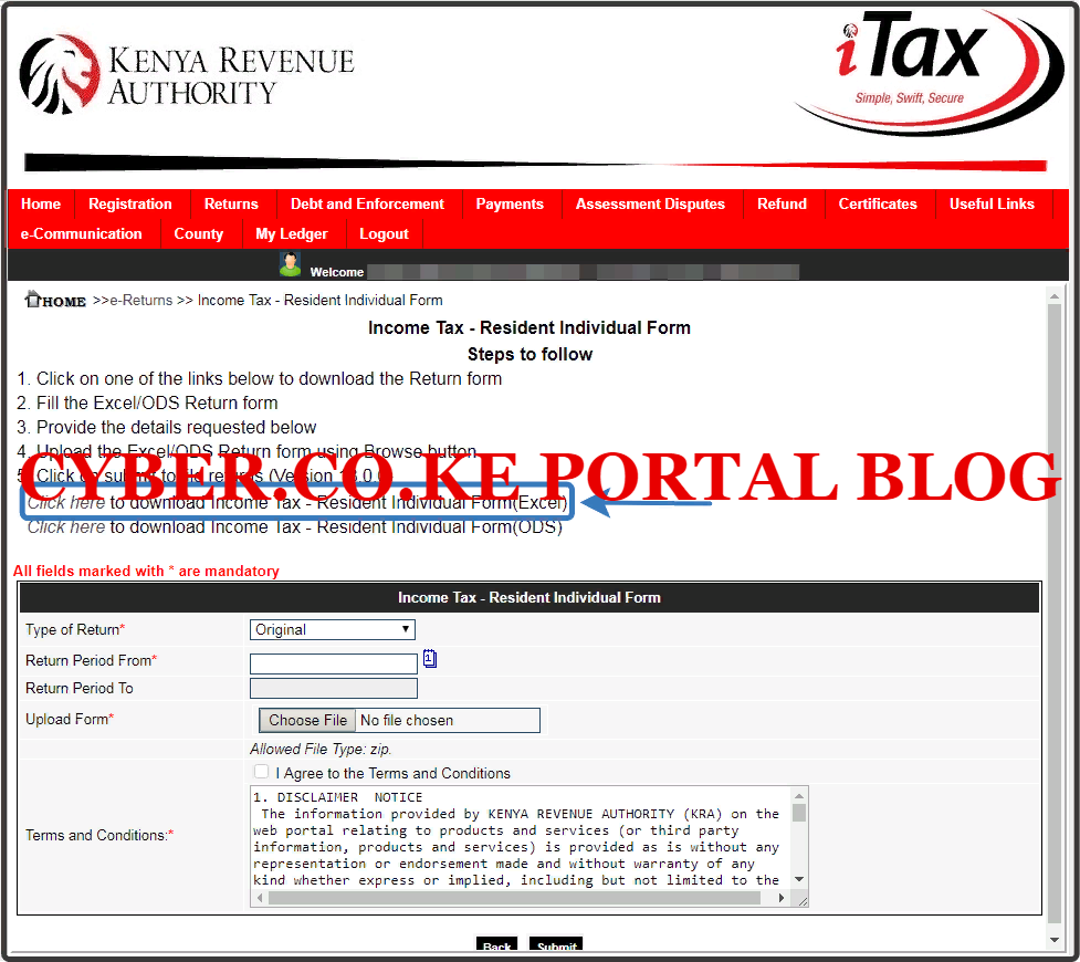 download kra returns excel sheet from itax account
