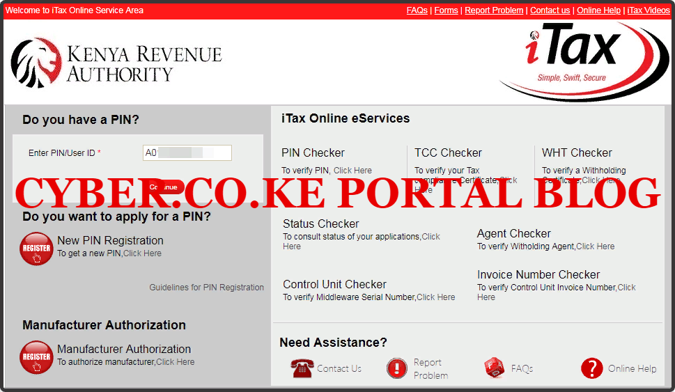 enter kra pin number or user id or login id