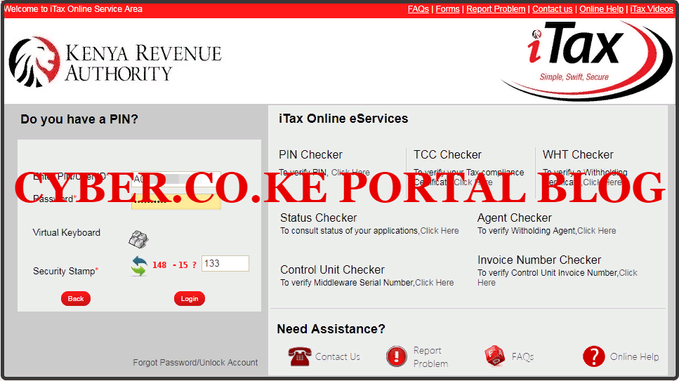 enter your kra itax password and solve arithmetic question
