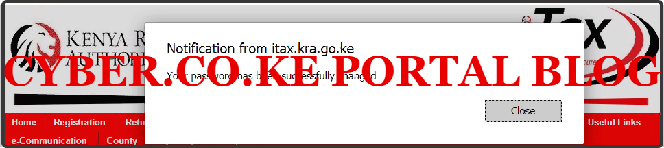 kra password successfully reset and changed