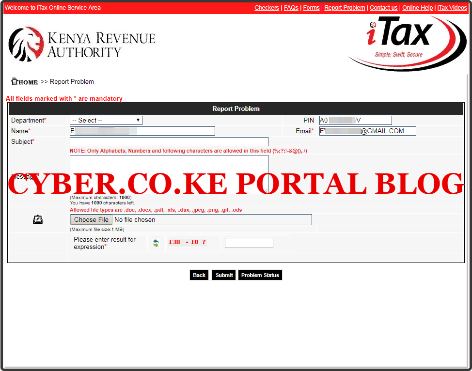 kra pin certificate email address checker results