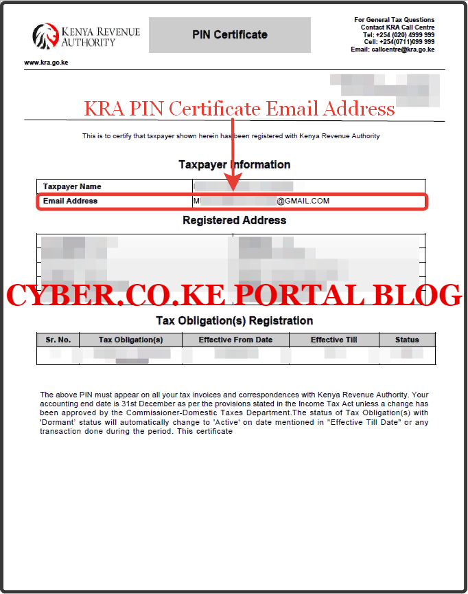 kra pin certificate email address