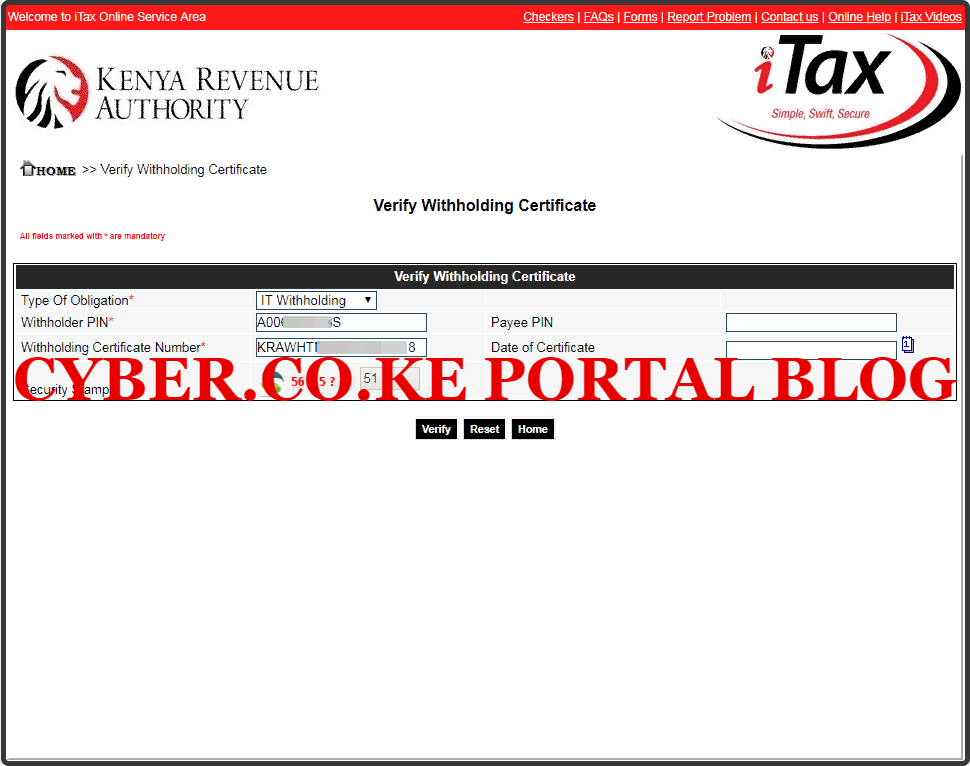 verify withholding certificate on kra itax portal using the wht checker