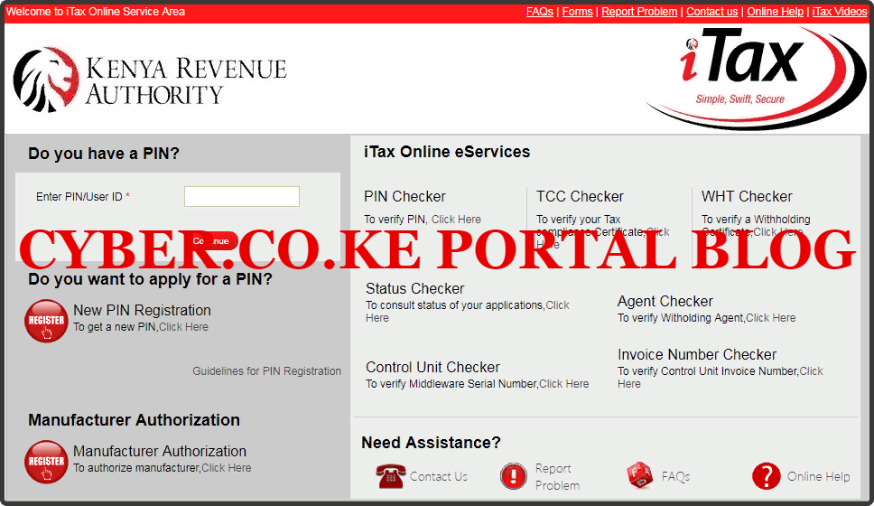 visit kra itax web portal account