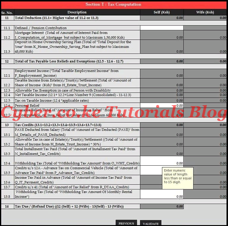 Tax Computation Section of the KRA Template