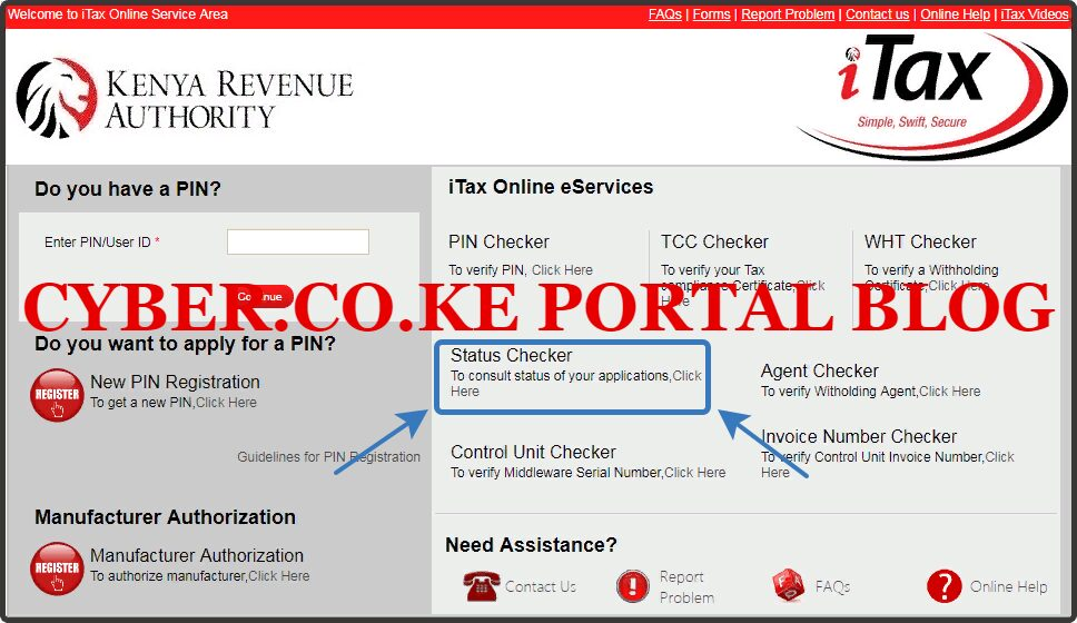 click on kra status checker functionality