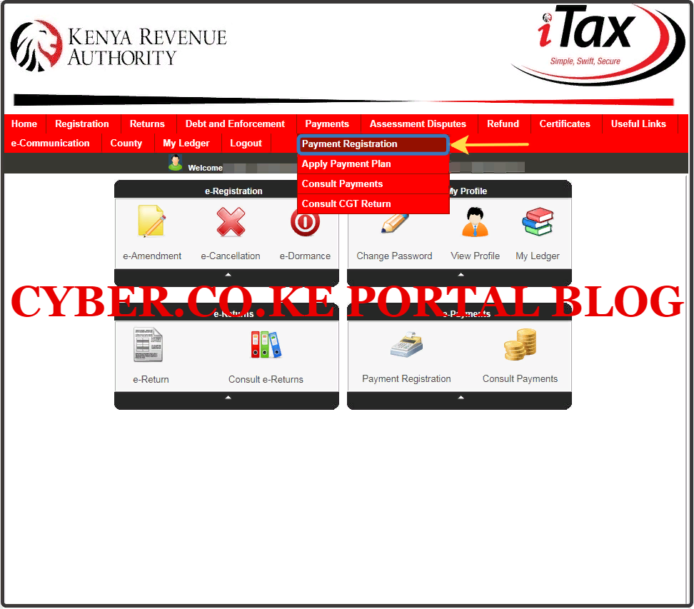 click on payment registration menu