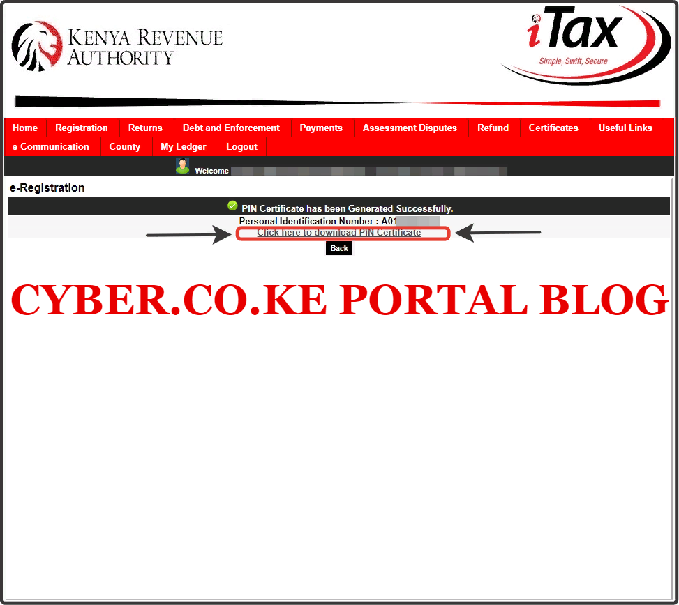 click on the print kra pin certificate link to download and print kra pin certificate
